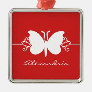 Dark Red Butterfly Swirls Premium Ornament