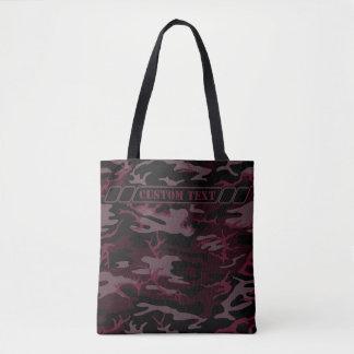 Dark Red Camo Tote w/ Custom Text Tote Bag