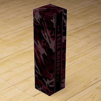 Dark Red Camo w/ Custom Text Wine Gift Box
