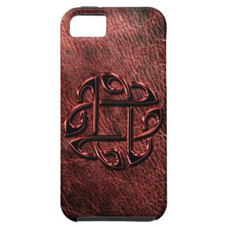 Dark red celtic knot on leather iPhone 5 cover