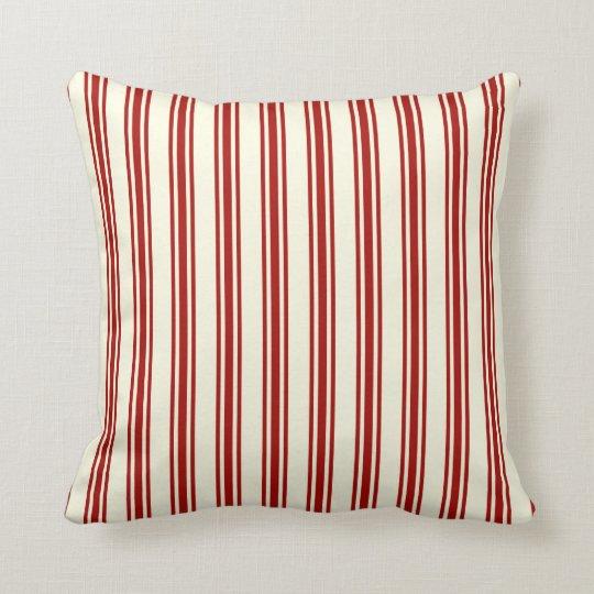 Dark Red & Cream Ticking Stripes Pattern Cushion