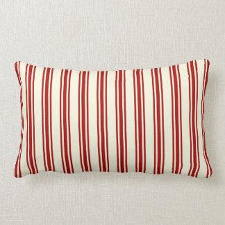 Dark Red & Cream Ticking Stripes Pattern Lumbar Pillow
