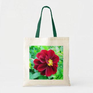Dark red dahlia canvas bags