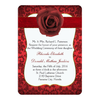 Dark Red Damask with Rose Wedding Invitation