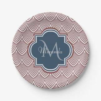 Dark Red Deco Scallops Navy Blue Monogram Name Paper Plate
