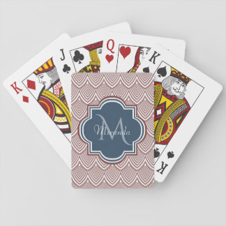 Dark Red Deco Scallops Navy Blue Monogram Name Playing Cards