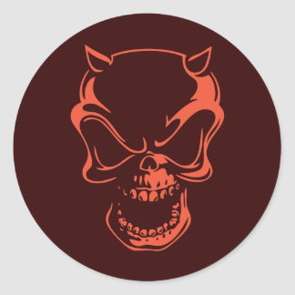 Dark Red Demon Skull Classic Round Sticker