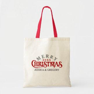 Dark Red Elegant Christmas Text Design Budget Tote Bag