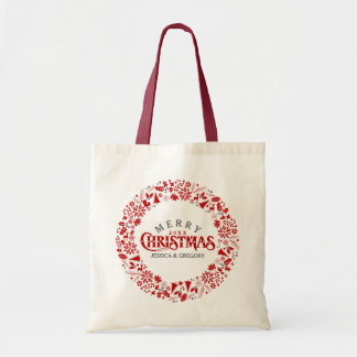 Dark Red Elegant Christmas Text & Wreath Budget Tote Bag
