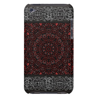 Dark red Embossed Swirls Tile 232 Barely There iPod Cover