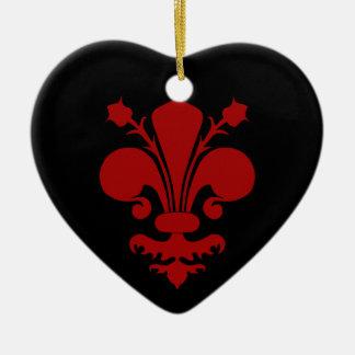 Dark red fleur de lis symbol christmas ornament