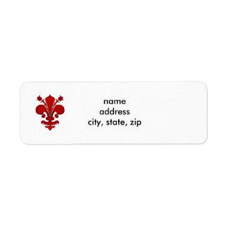 Dark red fleur de lis symbol return address label