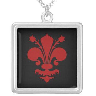 Dark red fleur de lis symbol silver plated necklace