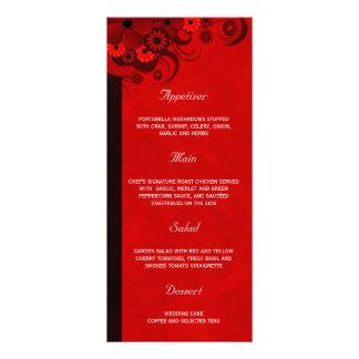 Dark Red Floral Gothic Wedding Dinner Menu Cards Custom Rack Card