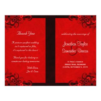 Dark Red Floral Gothic Wedding Program Templates 21.5 Cm X 28 Cm Flyer