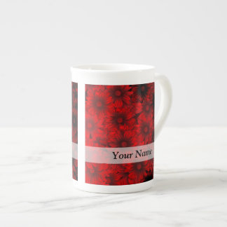 Dark red floral pattern bone china mug
