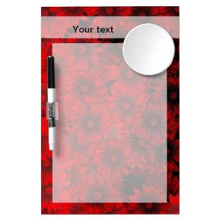 Dark red floral pattern dry erase whiteboard