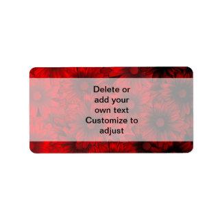 Dark red floral pattern address label