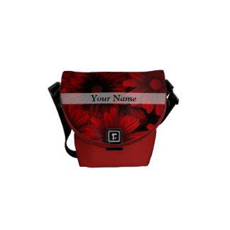 Dark red floral pattern courier bag