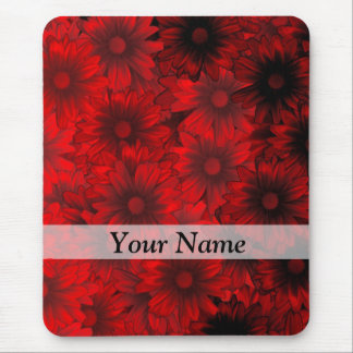 Dark red floral pattern mouse pad