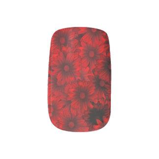 Dark red floral pattern nail wraps