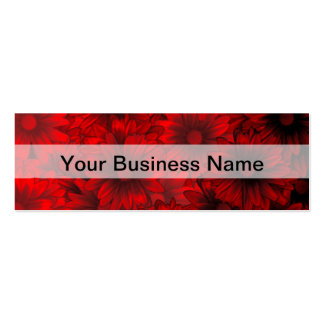 Dark red floral pattern pack of skinny business cards