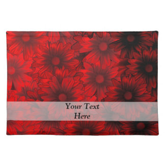 Dark red floral pattern placemat