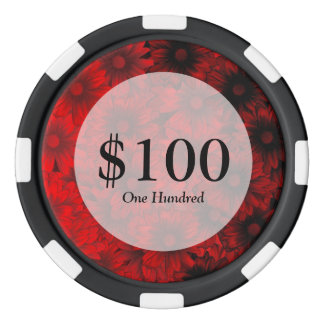 Dark red floral pattern poker chip set