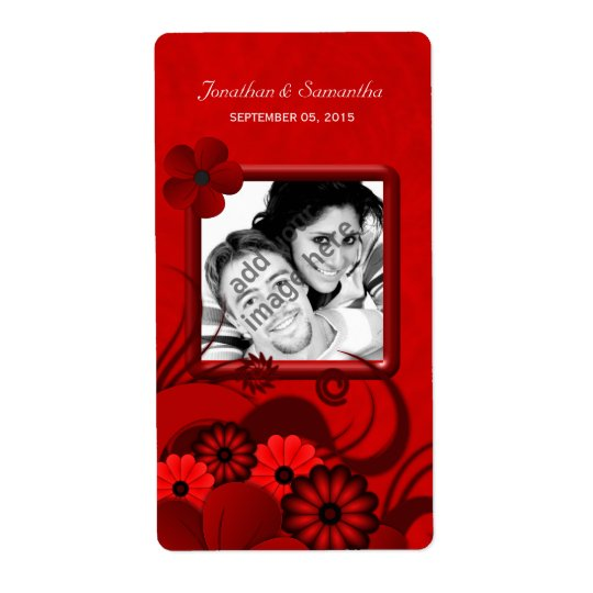 Dark Red Floral Wedding Photo Favour Wine Labels