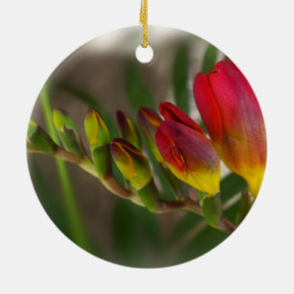 dark red freesia christmas ornament