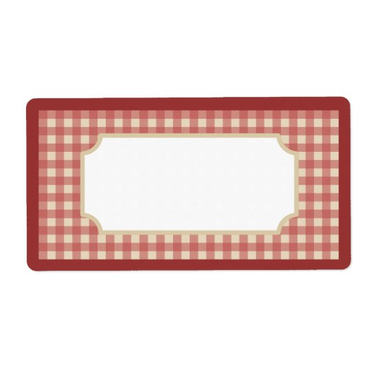 Dark Red Gingham Labels