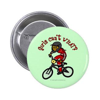 Dark Red Girls BMX 6 Cm Round Badge