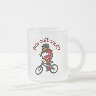 Dark Red Girls BMX Frosted Glass Mug