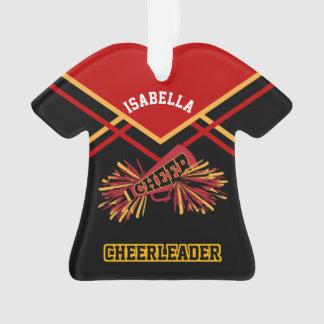 Dark Red, Gold and Black Cheerleader Ornament