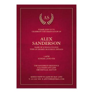 Dark Red + Gold Monogram/Laurel Wreath Graduation 13 Cm X 18 Cm Invitation Card