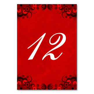 Dark Red Goth Floral Reception Table Number Cards Table Cards