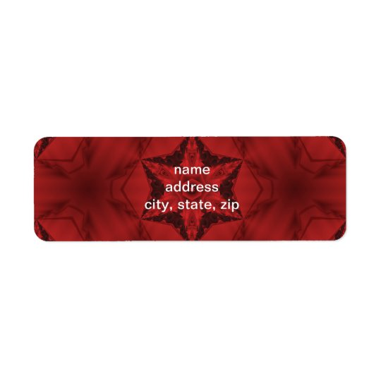Dark red gothic kaleidoscope  6 point star return address label