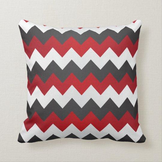 dark red grey and white chevron zigzag throw