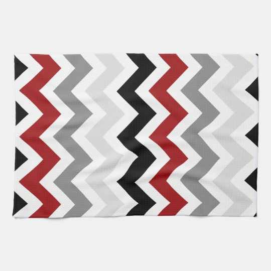 Dark Red Grey Black White Chevron Kitchen Towels