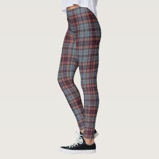 Dark Red Grey Blue Tartan Plaid Leggings