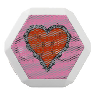 Dark Red Heart Surrounded by Black Lace Design White Boombot Rex Bluetooth Speaker