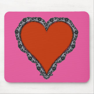 Dark Red Heart Surrounded by Black Lace Design Mouse Pad