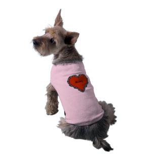 Dark Red Heart Surrounded by Black Lace Monogram Sleeveless Dog Shirt