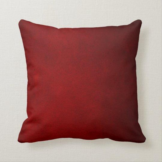 Dark Red Leather Plush Throw Pillow