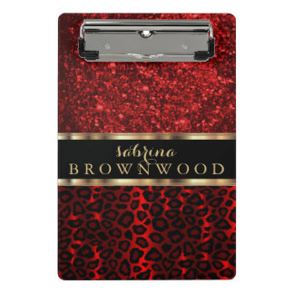 Dark Red Leopard Skin Pattern and Red Glitter Mini Clipboard