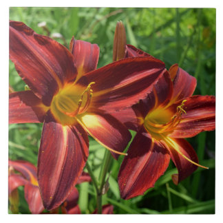 Dark red lilies ceramic photo tile