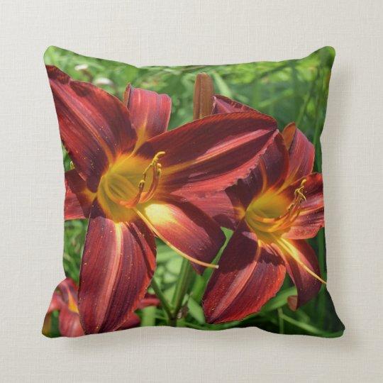 Dark red lilies throw cushion