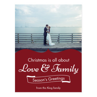 Dark Red Love & Family Photo Christmas Postcard