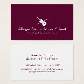 Dark red modern violin strings business card