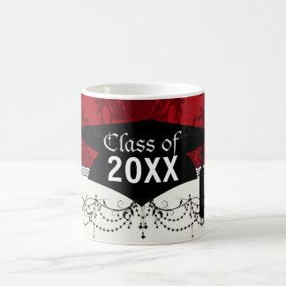 dark red on red damask two tone pattern graduation basic white mug